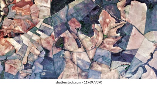 inner sea, tribute to Picasso, abstract photography of the Spain fields from the air, aerial view, representation of human labor camps, abstract, cubism, abstract naturalism,