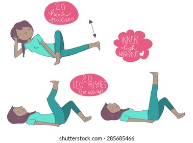 inner  tight  illustrated exercises, black woman
