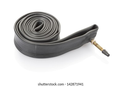 Inner tube for bicycle isolated on white, clipping path included