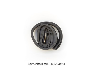 Inner tube for bicycle wheel isolated on white background