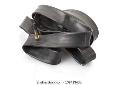 Inner tube for bike isolated on white, clipping path included