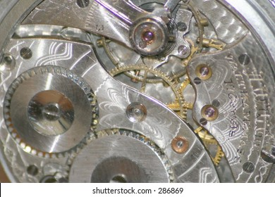 Inner workings or movement of an antique pocket watch