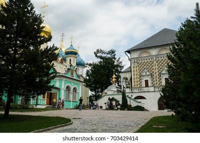 The inner yard of the Holy Trinity monastery in Sergiev Posad, Russia