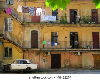 Inner yard of old apartment house in Lviv