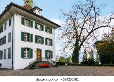 Inner yard of Richard Wagner Museum in Switzerland, Lucern with trees and mountains on the background, with fallen leaves in autumn.