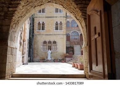 Inner yard of St. Antoine monastery in Kadisha valley, Lebanon
