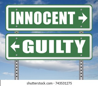 innocent or guilty presumption of innocence until proven guilt as charged in a fair trial for crime suspect 3D, illustration
