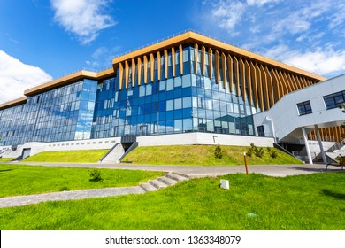 Innopolis, Russia - June 11, 2018: Modern building of Innopolis university. Innopolis city in Republic of Tatarstan, Russia