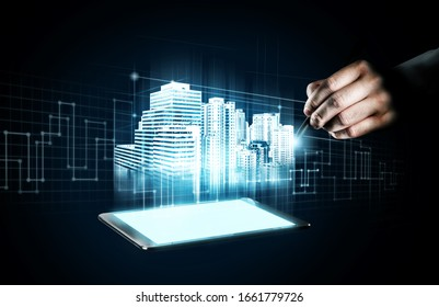 Innovated building architecture and engineering showing by future construction design. Modern real estate and property development concept.