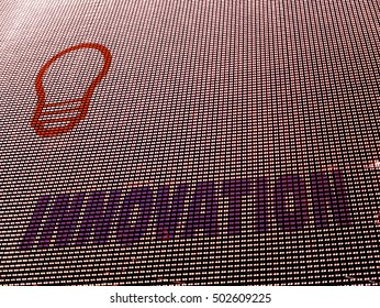 Innovation concept background for emerging technologies. Array of halftone colored LED diodes.
