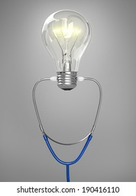 Innovation concept  in health - stethoscope and  light bulb