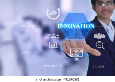 INNOVATION  concept  presented by  businessman touching on  virtual  screen