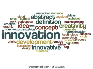 innovation creativity business concept word cloud on white
