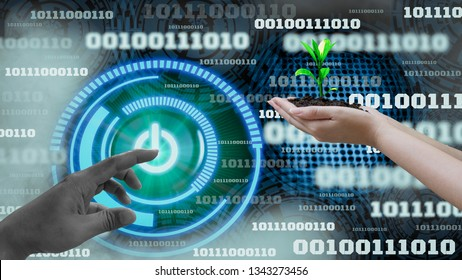 Innovation futuristic digital data binary code background technology,Switch on-off and hand holding seedlings,Concepts technology development to preserve environment and science for sustainable nature