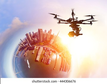 Innovation photography concept. Drone flying over San-Francisco city at sunset. Little planet effect. Heavy lift drone photographing city at sunset.