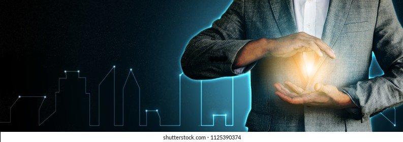 Innovation Smart city technology with successful professional businessman hand holding power of future online banking financial technology change disruption to protect beyond outlook vision strategy