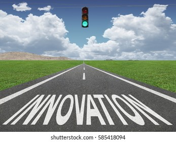 Innovation text on highway background with green traffic light