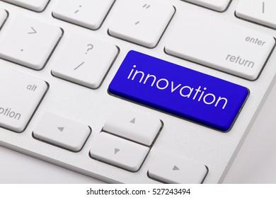 innovation word written on computer keyboard.
