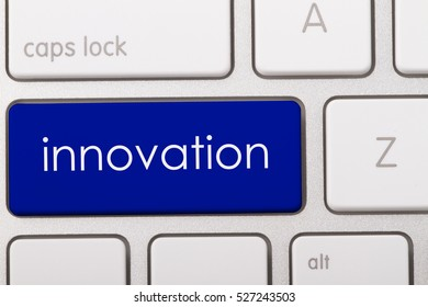 innovation word written on computer keyboard.