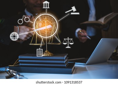 Innovations connection icons. Lawyers having team meeting at law firm. justice and law ,attorney, court judge, concept.