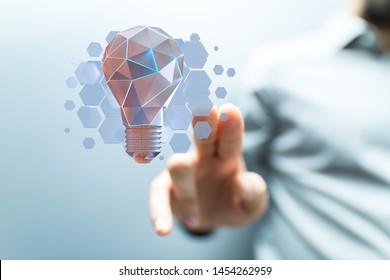 Innovative idea in business - hand concept design.