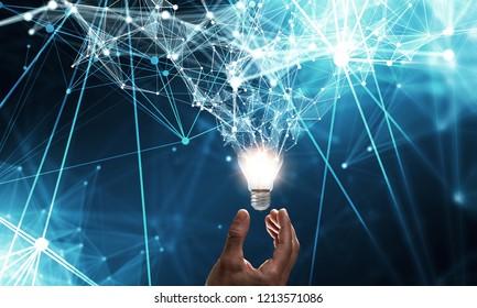 Innovative idea in businessman hand