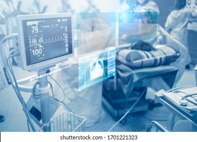 Innovative technology in a modern hospital operating room futuristic medical interface concept Keeping a close monitor on the patient's state of health