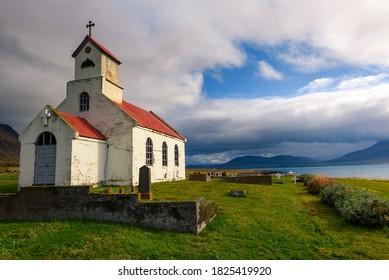 Innra-Holmskirkja church with a cemetery located near the village of Akranes in Iceland.