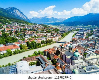Inns river and Innsbruck city centre aerial panoramic view. Innsbruck is the capital city of Tyrol in western Austria