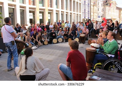 "INNSBRUCK, AUSTRIA - APRIL 24: ""Free Beat Company"" music band is performing on Maria-Theresien Street on April 24, 2015 in Innsbruck."