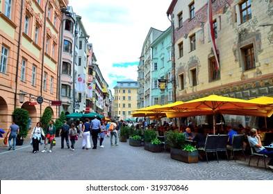 INNSBRUCK, AUSTRIA AUGUST 24- the pedestrianized Old Town - August 24 2015 in Innsbruck Austria