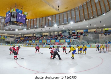 INNSBRUCK, AUSTRIA - JANUARY 22 Sweden beats Austria 3:0 in the ladies' ice hockey tournament and wins the gold medal on January 22, 2012 in Innsbruck, Austria.