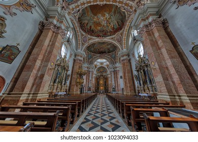 INNSBRUCK, AUSTRIA - JANUARY 28, 2018: The St. James Cathedral (in German: Dom zu St. Jakob) is seen from inside.