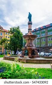 INNSBRUCK, AUSTRIA, JULY 26, 2016: View of the Rudolfsbrunnen fountain situated in Innsbruck, Austria.