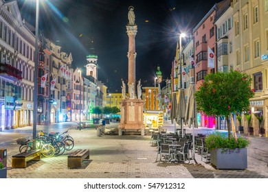 INNSBRUCK, AUSTRIA, JULY 26, 2016: Night view of the town square dominated by Anna´s column in Innsbruck, Austria.