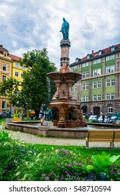 INNSBRUCK, AUSTRIA, JULY 27, 2016: View of the Rudolfsbrunnen fountain situated in Innsbruck, Austria.