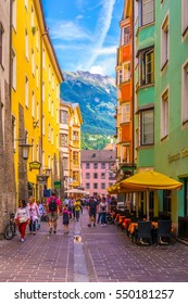 INNSBRUCK, AUSTRIA, JULY 27, 2016: People are wandering around the historical center of Innsbruck, Austria