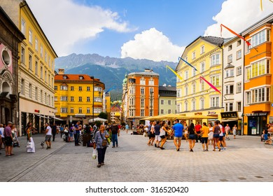 INNSBRUCK, AUSTRIA - JULY 4, 2015: Architecture of the center of Innsbruck, Austria. Innsbruck is the capital city of the federal state of Tyrol (Tirol)