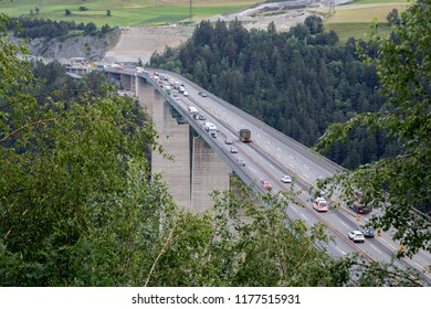 Innsbruck, Austria - June 08, 2018: View of the Europa Bridge or Bridge of Europe a 777-metre-long bridge