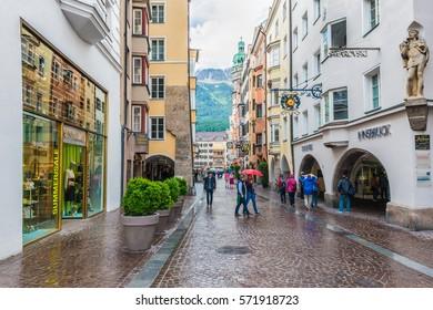 INNSBRUCK, AUSTRIA - JUNE 2, 2016: Maria Theresien commercial Street in Innsbruck, Austria