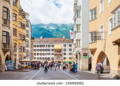 INNSBRUCK, AUSTRIA - June 27, 2018: Antique building Golden Roof Innsbruck, Austria