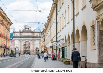 INNSBRUCK, AUSTRIA - June 27, 2018: Triumphal Arch, Innsbruck city, Austria