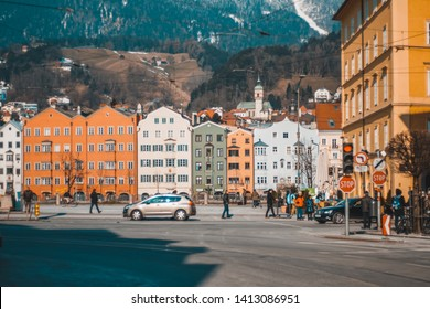 Innsbruck / Austria - March 1, 2018: the iconic sidewalk for photograpy in Innsbruck, Austria