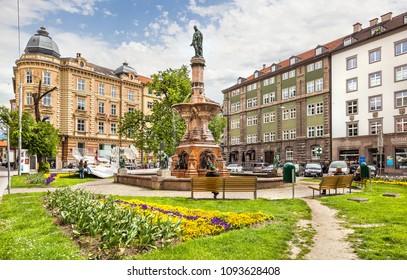 Innsbruck, Austria - May 06, 2017: View of the Rudolfsbrunnen fountain situated in Innsbruck, Austria.