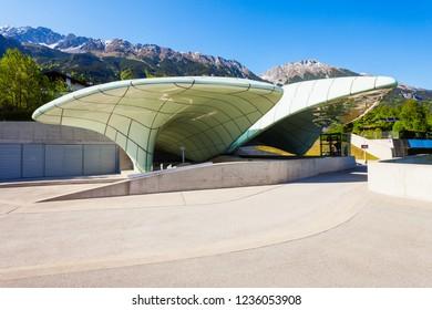 INNSBRUCK, AUSTRIA - MAY 21, 2017: Hungerburg station of Hungerburgbahn, hybrid funicular railway in Innsbruck, Austria. Funicular connecting the city district of Hungerburg with the city centre.