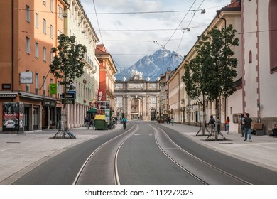 INNSBRUCK, AUSTRIA : MAY 23, 2018 - View of the Triumphal Arch (Triumphpforte) from Maria-Theresien-Strasse  in Innsbruck.