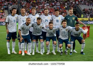 Innsbruck, Austria - May 30, 2018. National team of Russia before international friendly match against Austria at Tivoli stadium in Innsbruck.