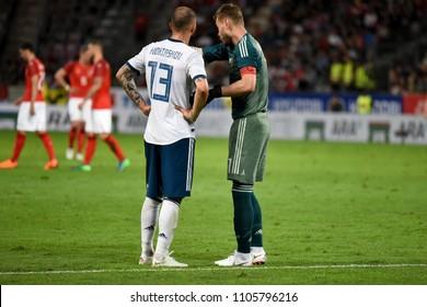 Innsbruck, Austria - May 30, 2018. Russian goalkeeper Igor Akinfeev and defender Fedor Kudryashov during international friendly Austria vs Russia.