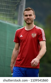 Innsbruck, Austria – May 30, 2018. Russian football goalkeeper Igor Akinfeev before international friendly against Austria.
