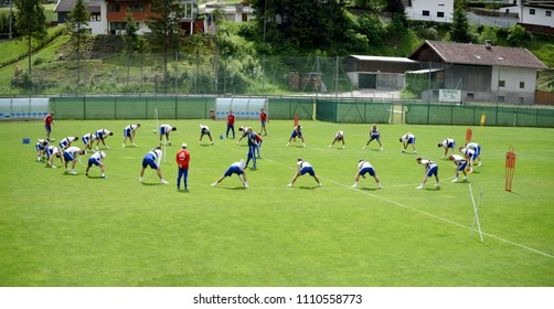 Innsbruck, Austria – May 30, 2018. National team of Russia at workout during training camp in Neustift, Austria.